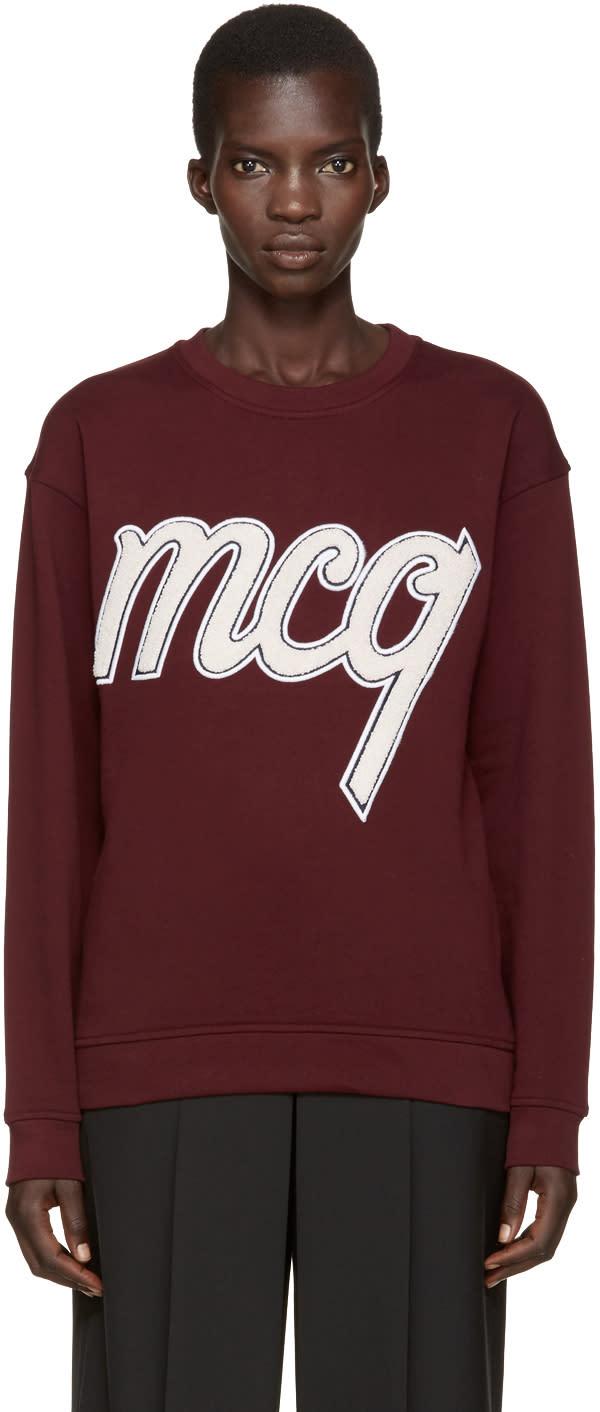 Mcq Alexander Mcqueen Burgundy Embroidered Pullover