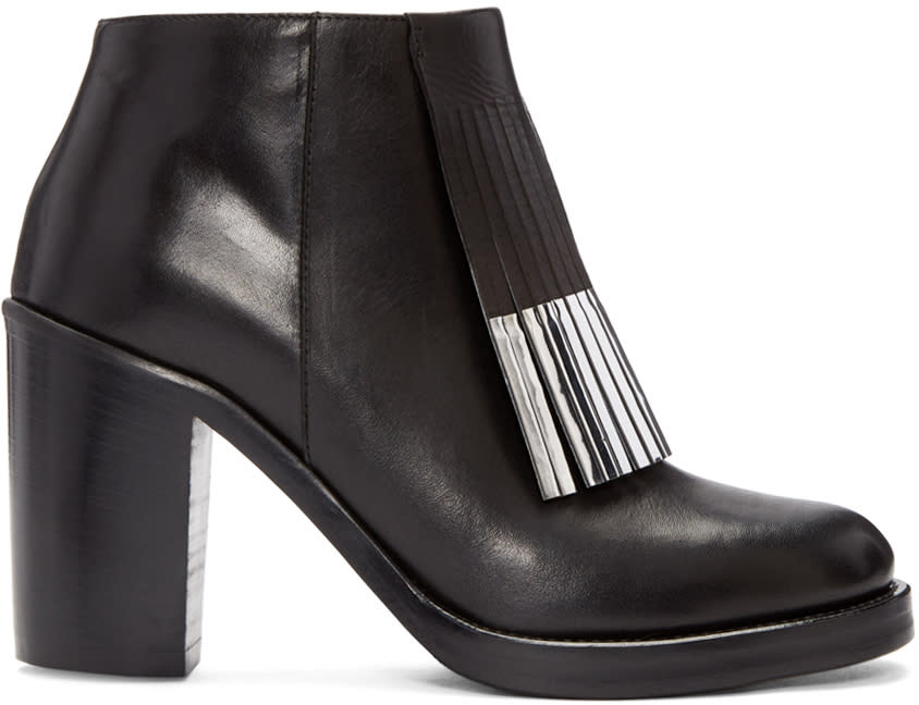 Mcq Alexander Mcqueen Black Wick Fringe Ankle Boots