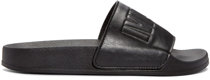 Mcq Alexander Mcqueen Black Leather Slides