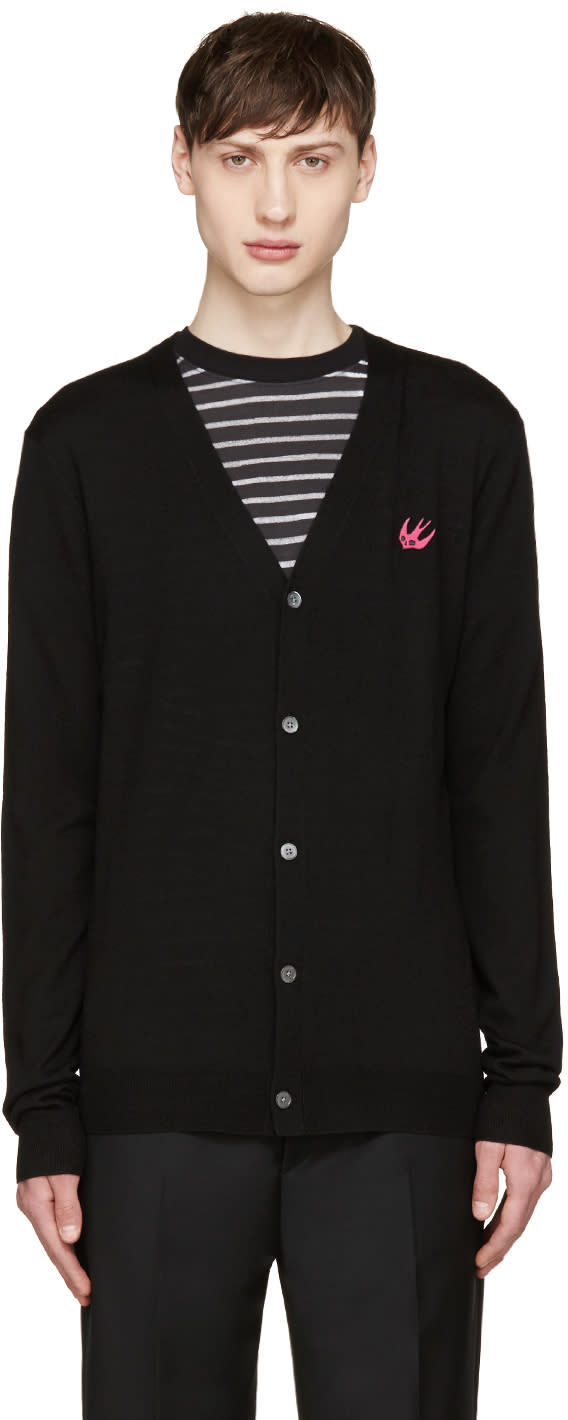 Mcq Alexander Mcqueen Black Wool Embroidered Cardigan