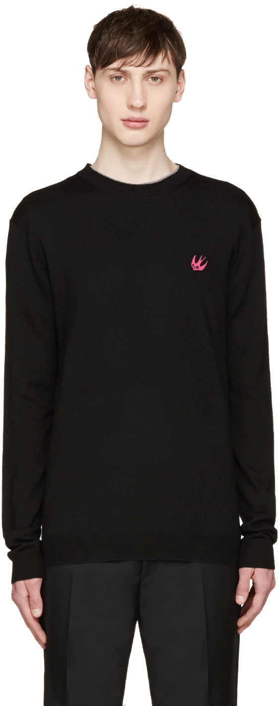 Mcq Alexander Mcqueen Black Wool Embroidered Sweater