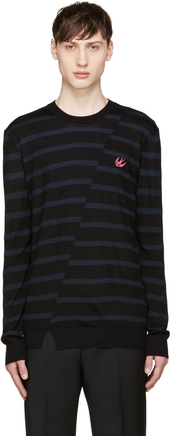 Mcq Alexander Mcqueen Black and Blue Distort Striped Sweater