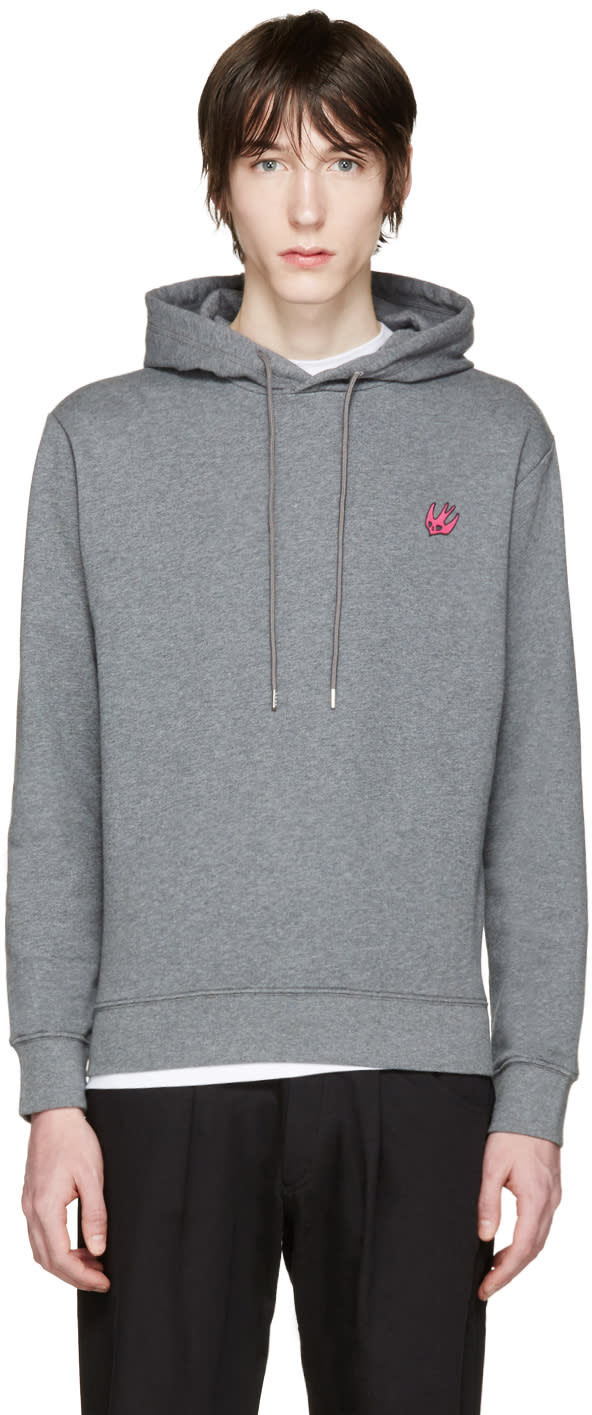 Mcq Alexander Mcqueen Grey Embroidered Hoodie