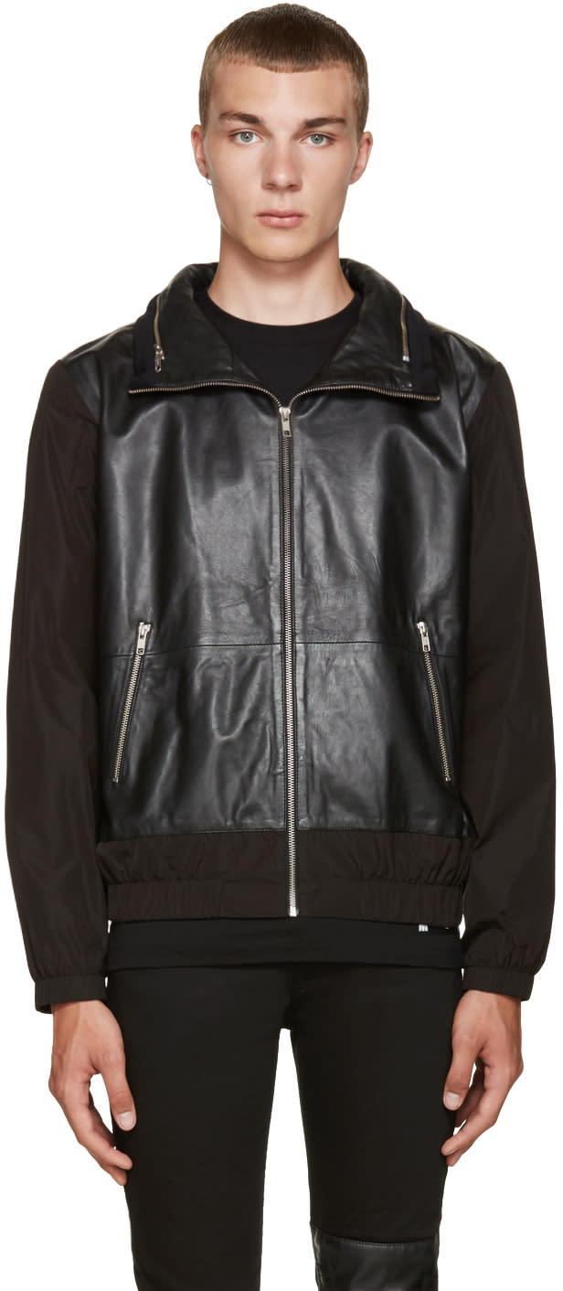 Mcq Alexander Mcqueen Black Leather Windbreaker Jacket