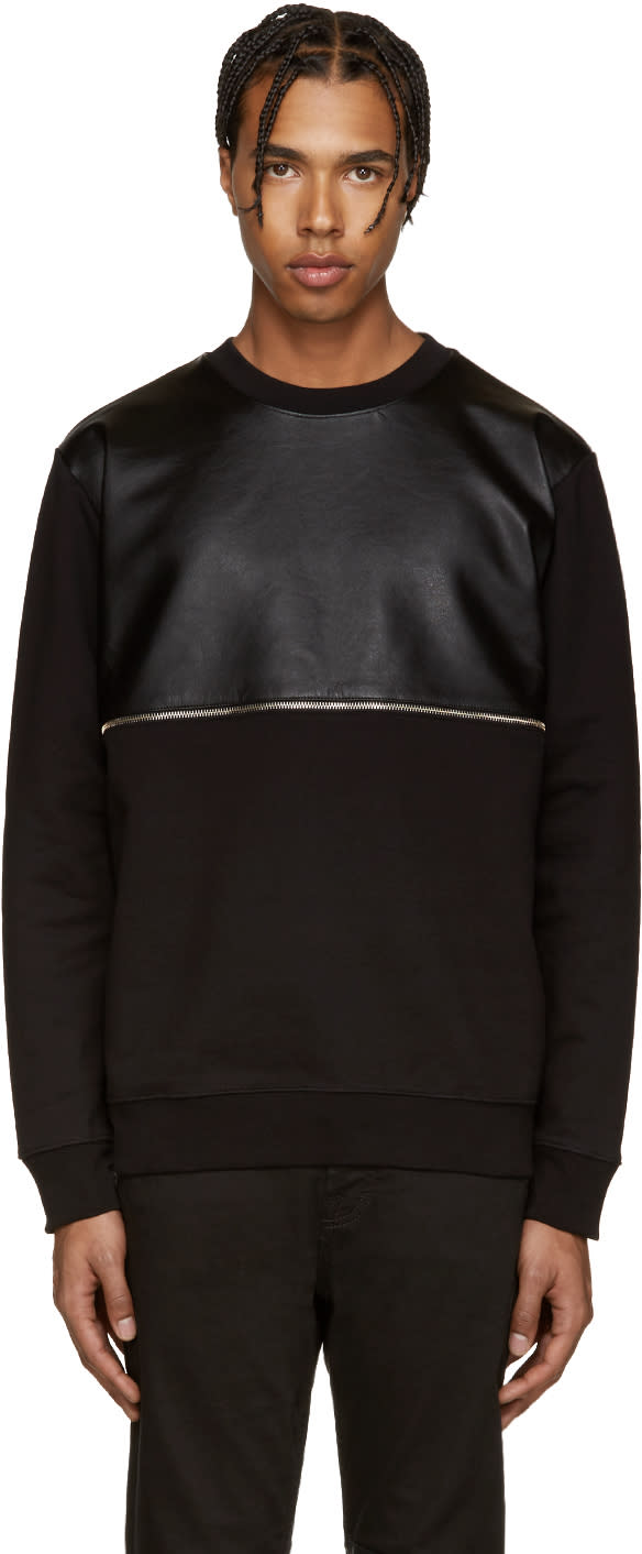 Mcq Alexander Mcqueen Black Leather Zip Pullover