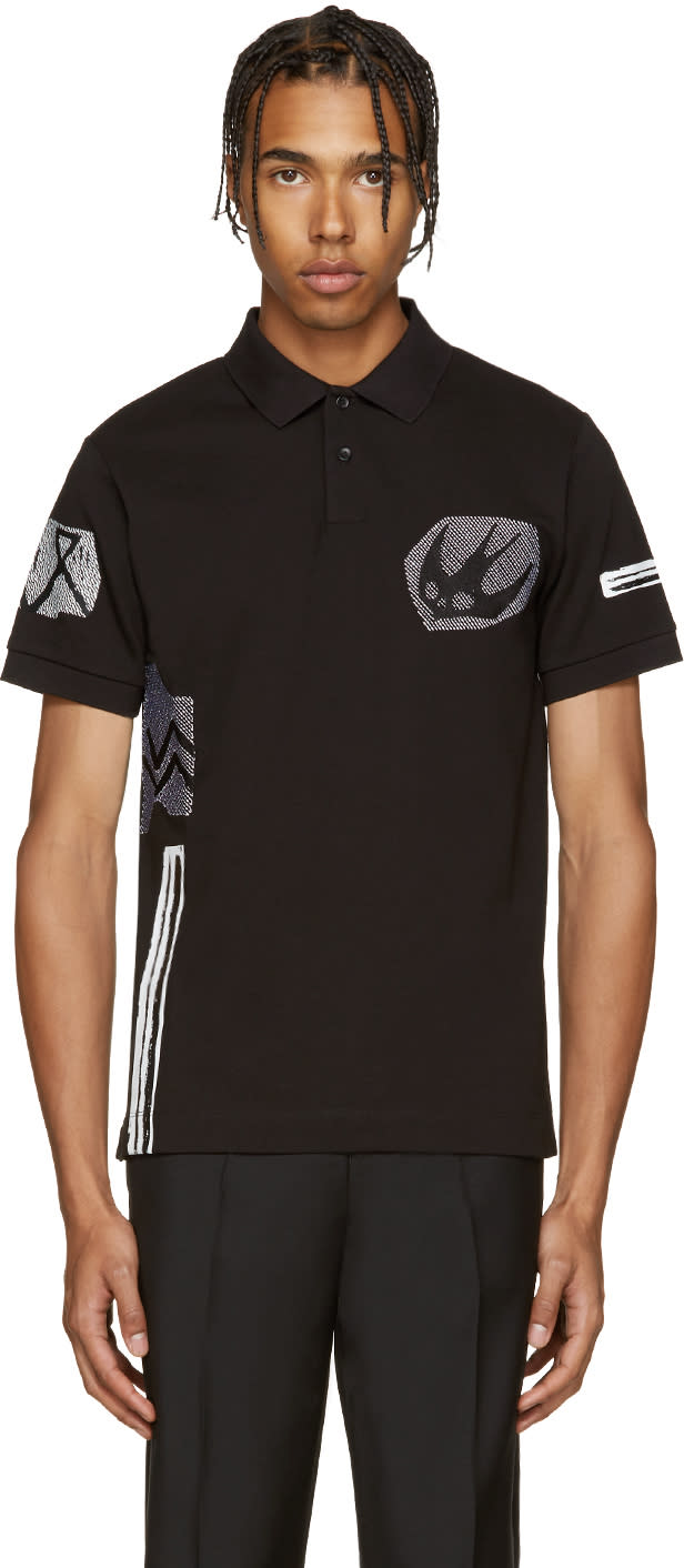 Mcq Alexander Mcqueen Black Embroidered Polo
