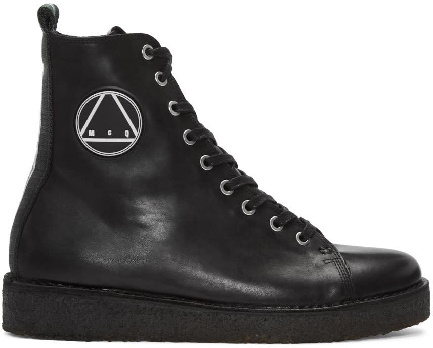 Mcq Alexander Mcqueen Black Crepe Sole Boots