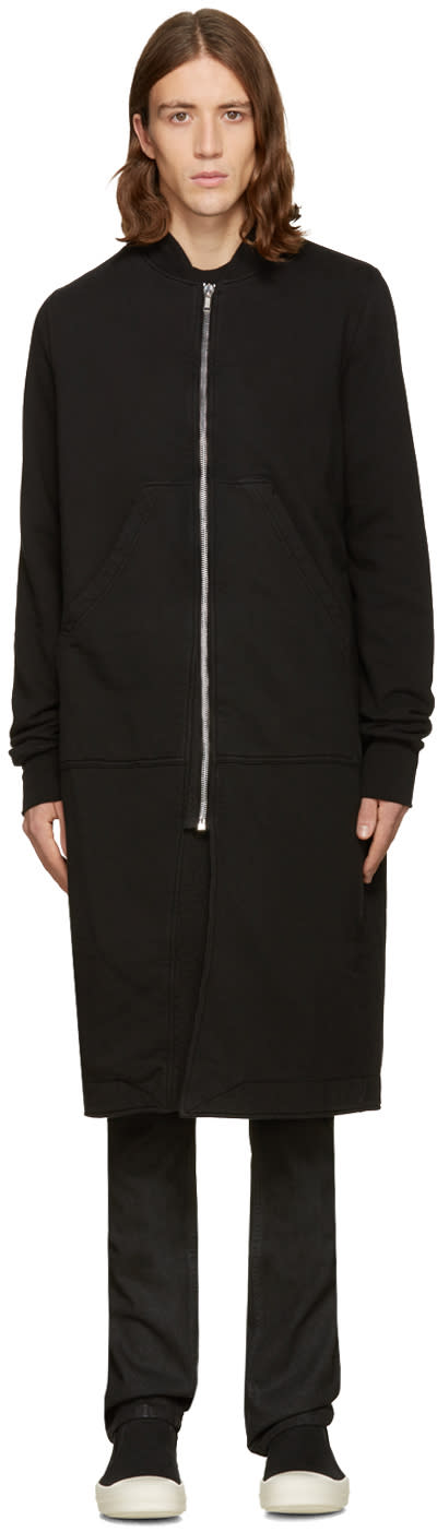 Rick Owens Drkshdw Black Long Flight Zip Bomber Sweater