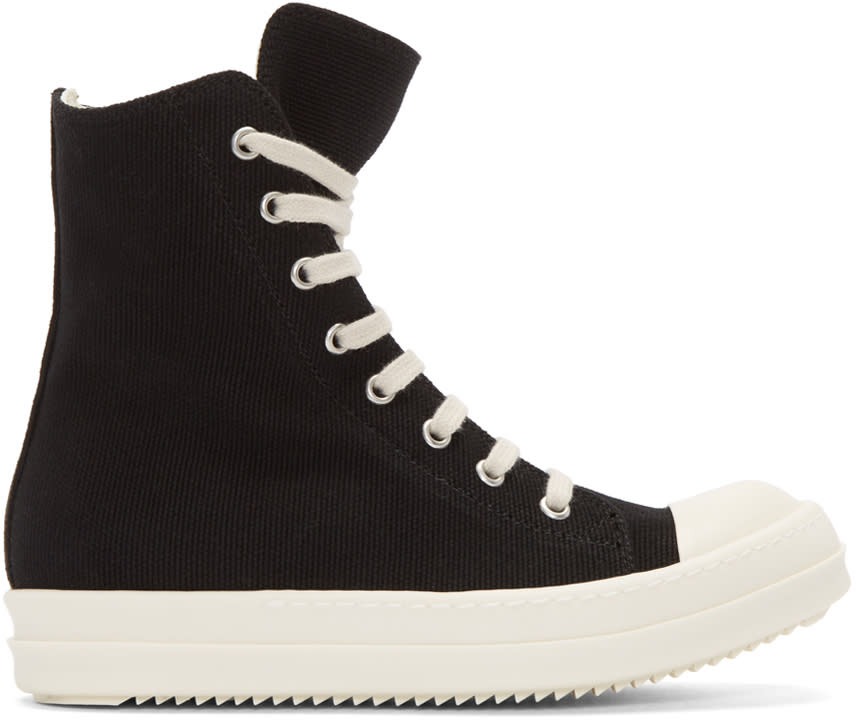 Rick Owens Drkshdw Black Canvas High-top Sneakers