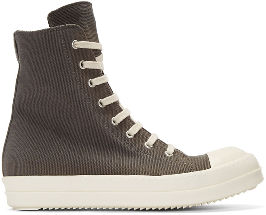 Rick Owens Drkshdw Grey Canvas High-top Sneakers