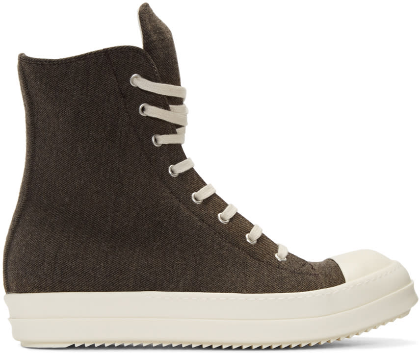 Rick Owens Drkshdw Brown Flannel High-top Sneakers