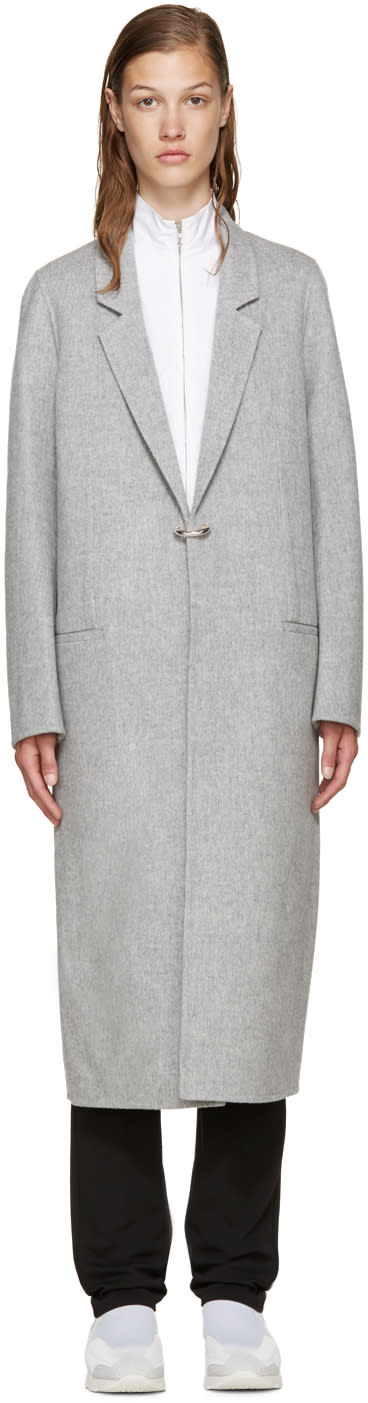 Acne Studios Grey Wool Foin Coat
