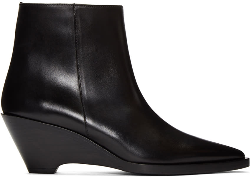 Acne Studios Black Cony Ankle Boots