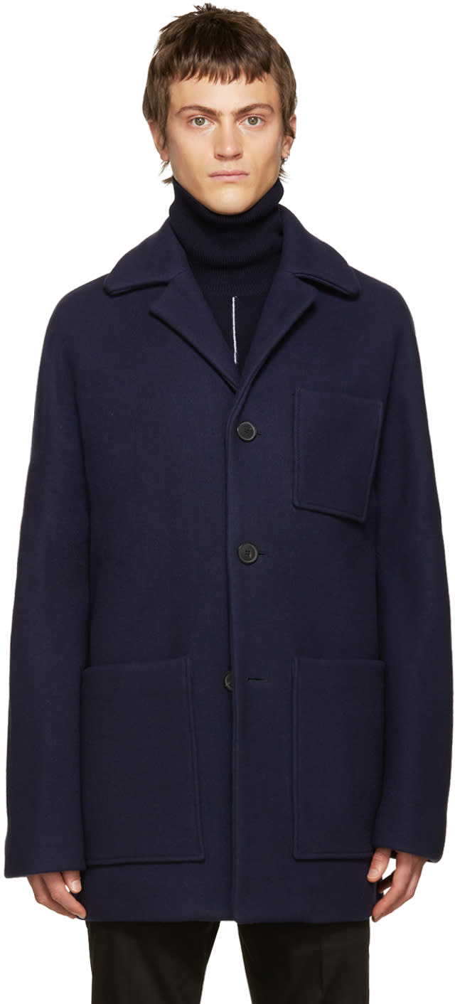 Acne Studios Navy Wool Min Coat