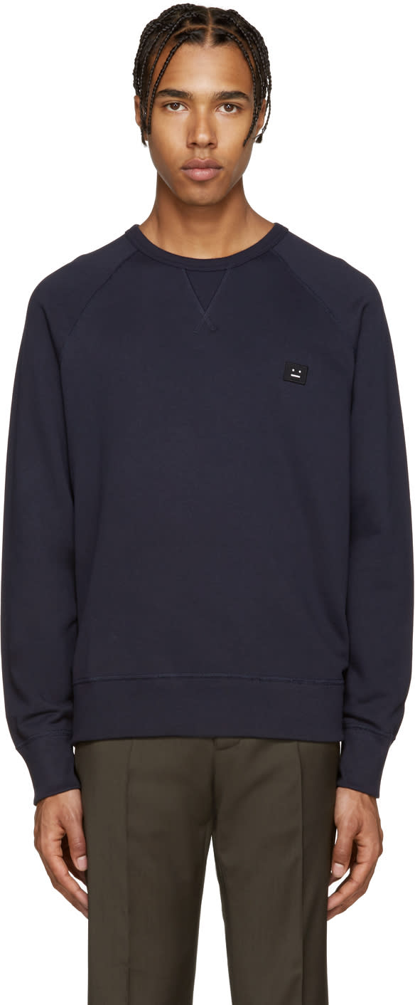 Acne Studios Navy College Face Pullover