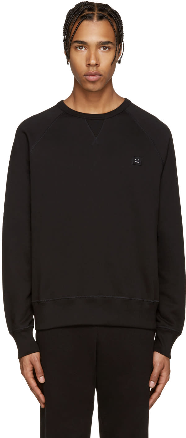 Acne Studios Black College Face Sweatshirt