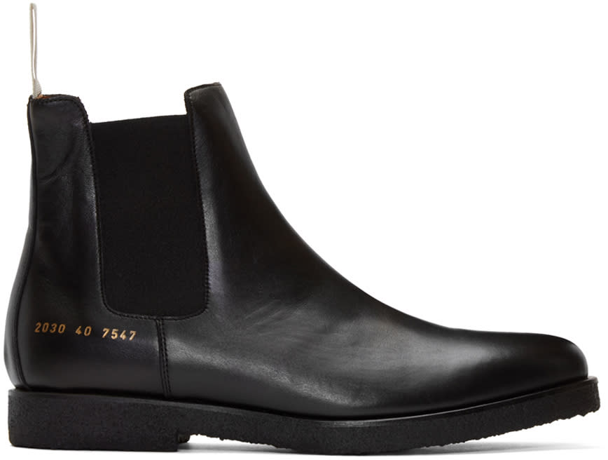 Common Projects Black Leather Chelsea Boots