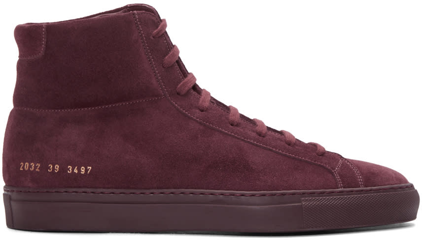 Common Projects Burgundy Original Achilles High-top Sneakers