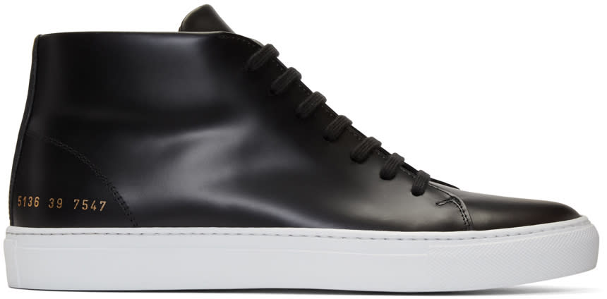 Image of Common Projects Black New Court Mid-top Sneakers