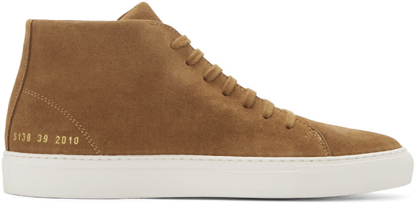Common Projects Brown Suede New Court Mid-top Sneakers