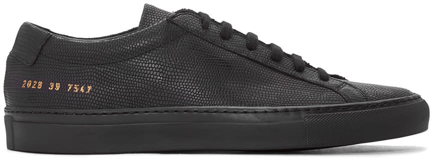 Common Projects Black Embossed Achilles Sneakers