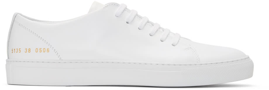 Image of Common Projects White New Court Low Sneakers