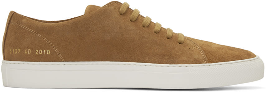 Common Projects Brown Suede New Court Low Sneakers