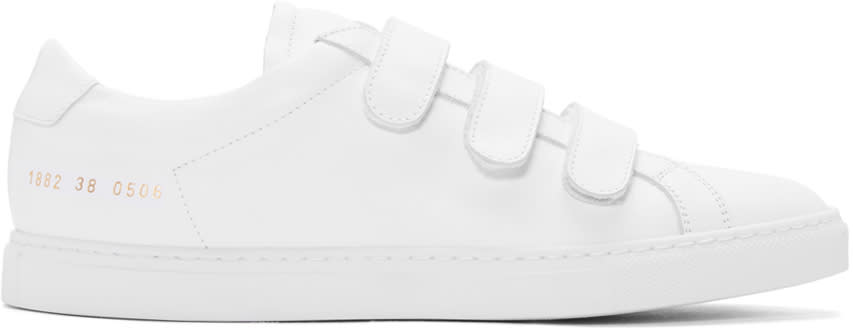 Common Projects White Achilles Three Strap Sneakers