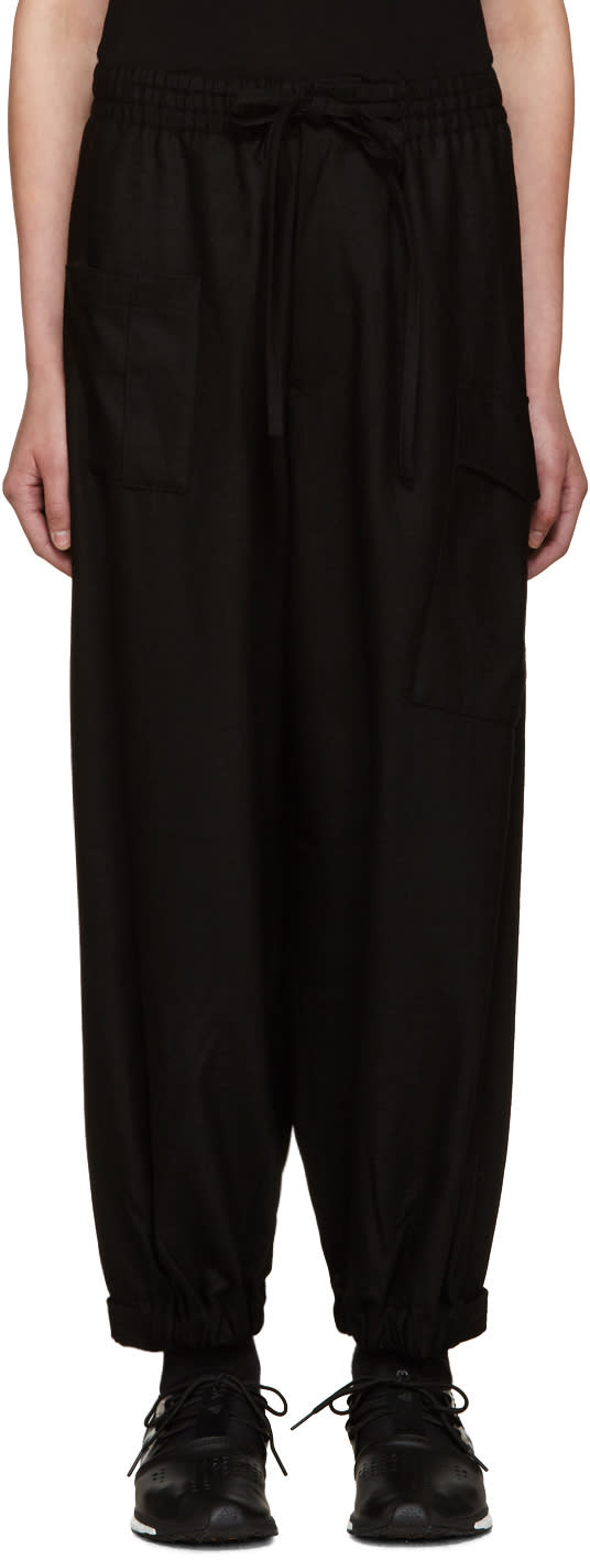 Y-3 Black Wool Cropped Lounge Pants