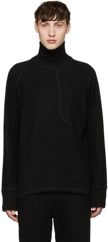 Y-3 Black Wool Zip Turtleneck