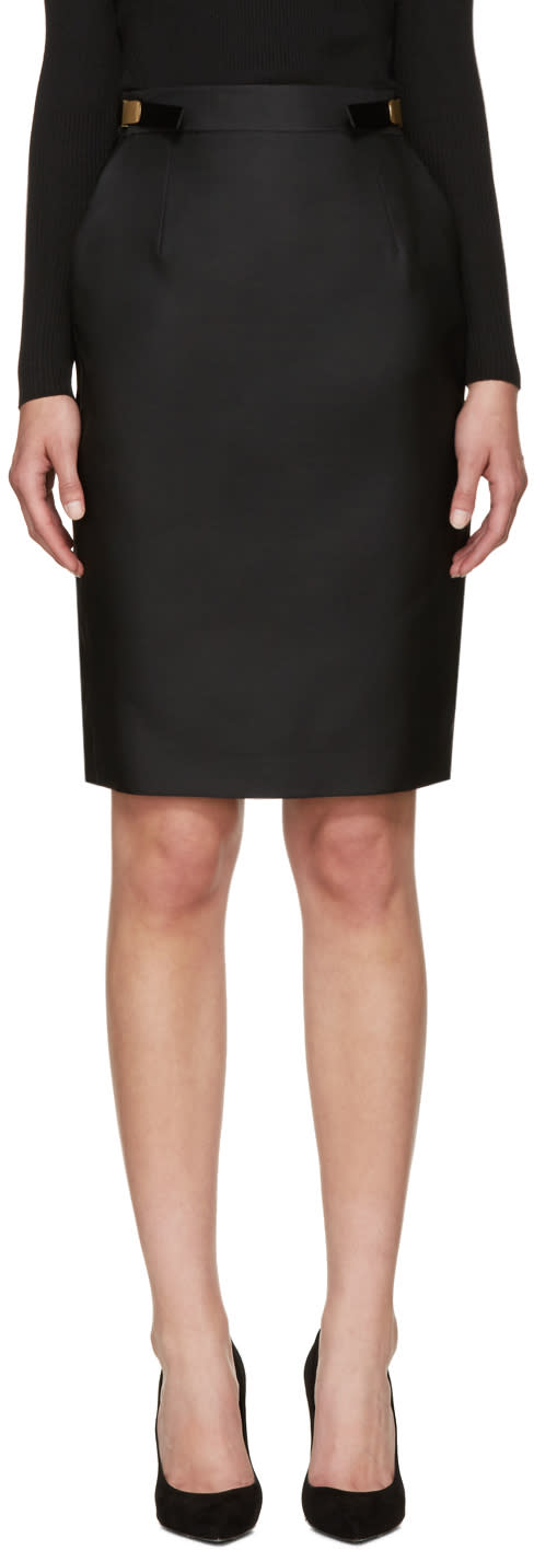 Dsquared2 Black Wool and Silk Army Skirt