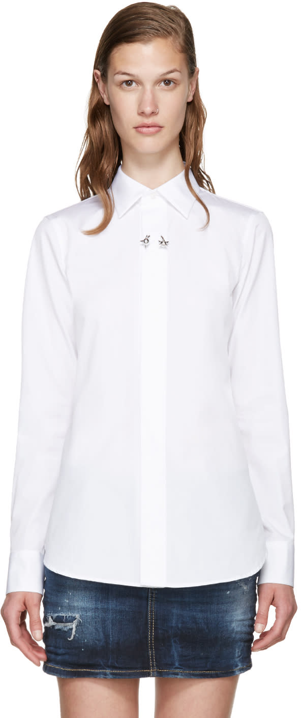 Dsquared2 White Cotton Poplin Barbell Ring Shirt