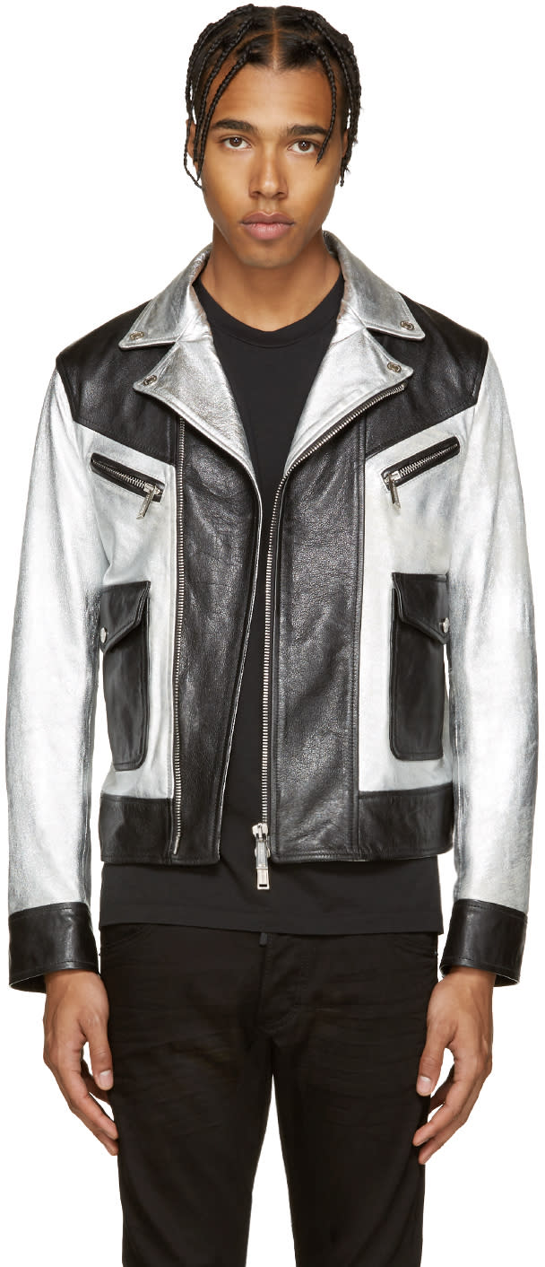 Dsquared2 Black and Silver Leather Kiodo Biker Jacket