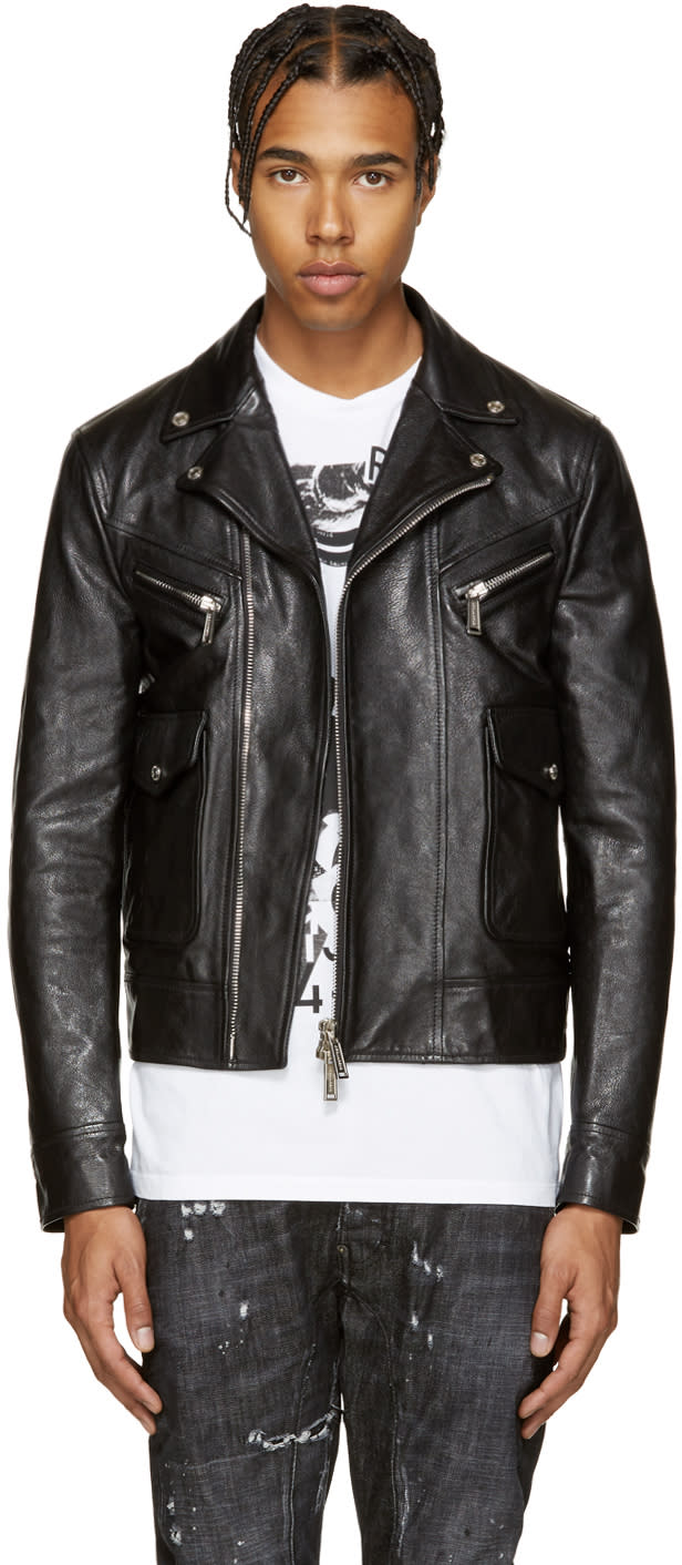 Dsquared2 Black Leather Kiodo Biker Jacket