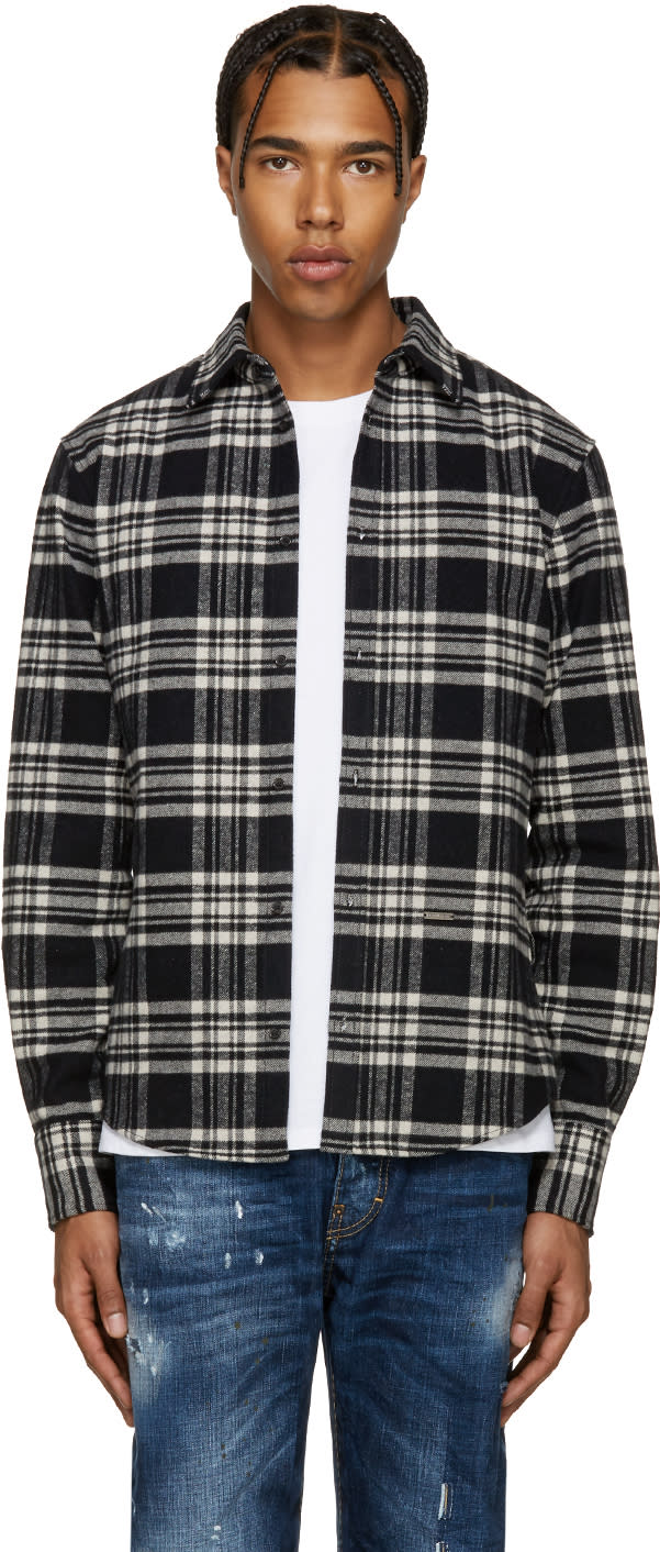 Dsquared2 Black and White Flannel Check Shirt