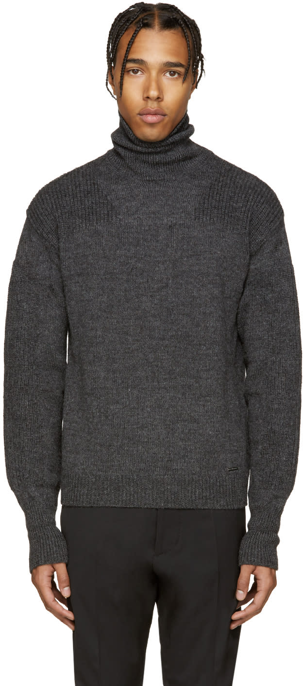 Dsquared2 Grey Wool Turtleneck.