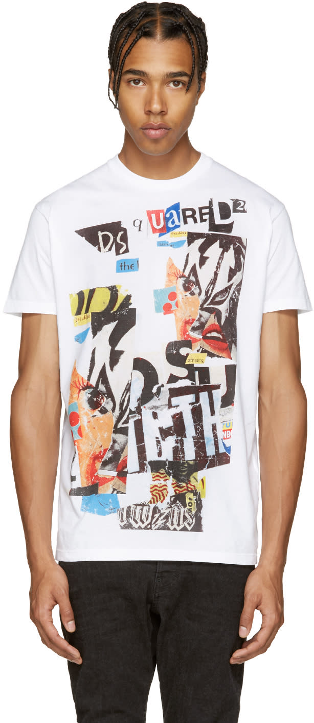 Dsquared2 White and Multicolor Logo T-shirt
