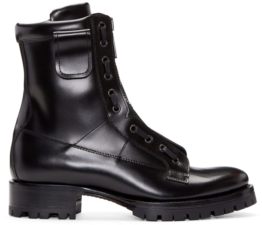 Dsquared2 Black Leather Asylum Boots