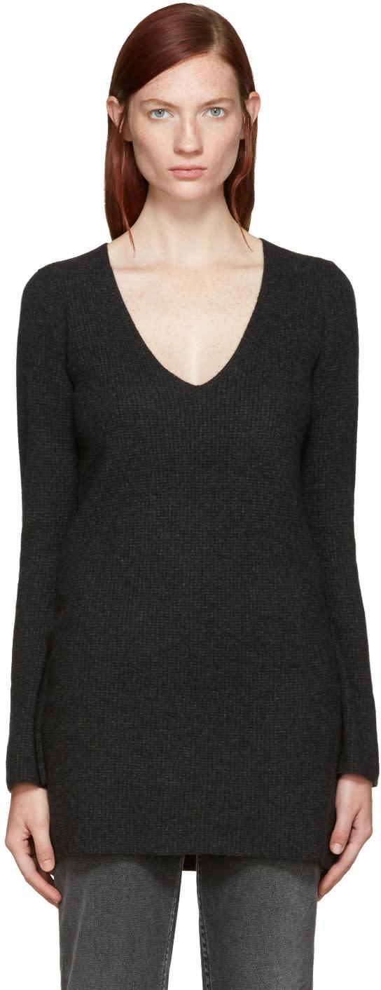 Helmut Lang Grey Waffle Knit Tunic Sweater