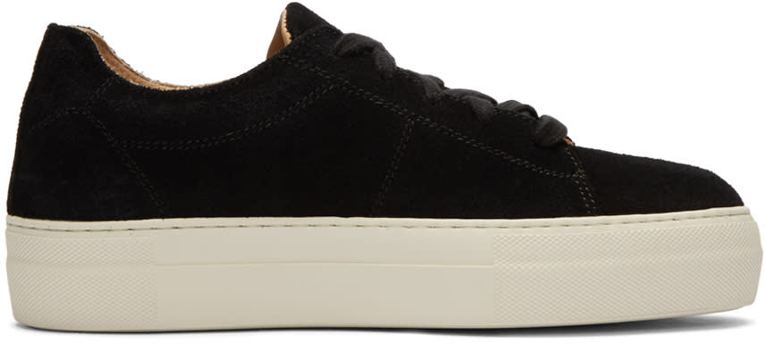 Helmut Lang Black Suede Stitched Sneakers