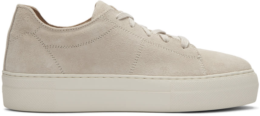 Helmut Lang Beige Suede Stitched Sneakers