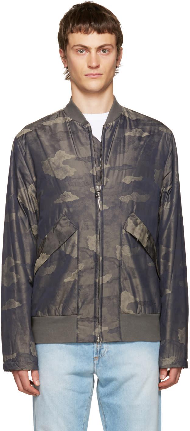 Helmut Lang Khaki Camouflage Bomber Jacket