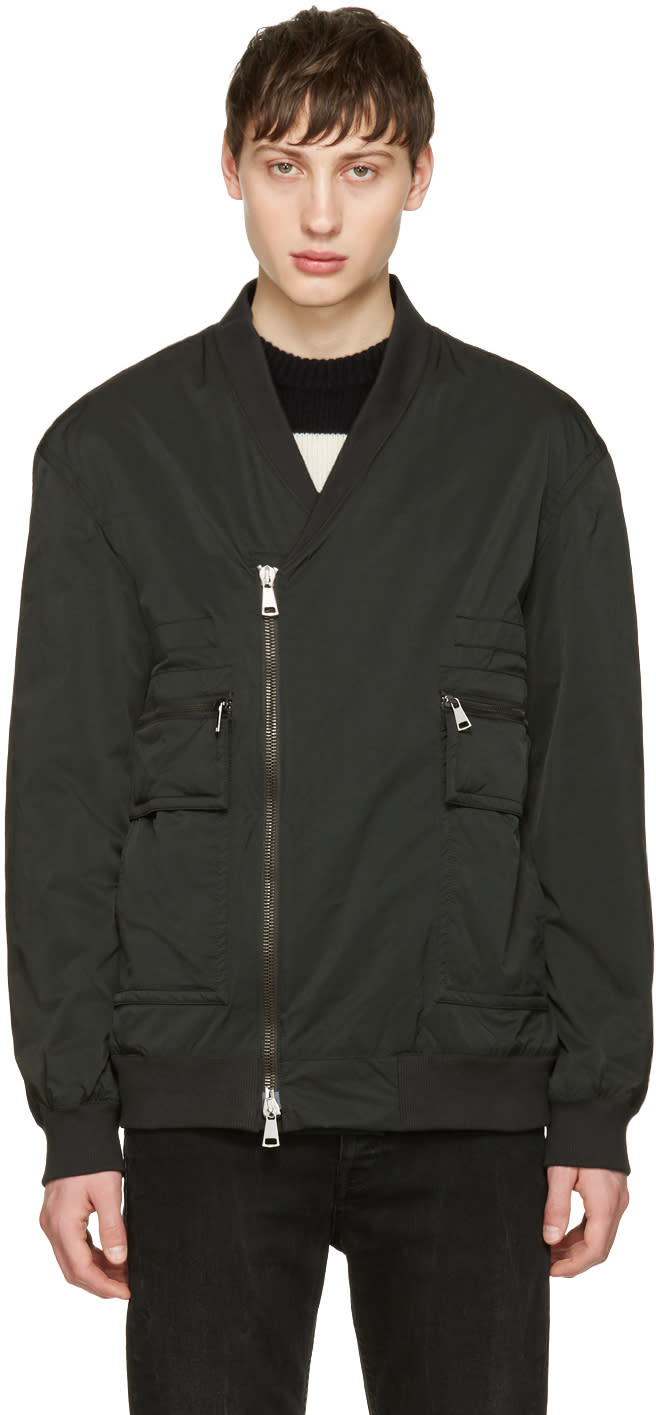 Helmut Lang Green Crossover Bomber Jacket