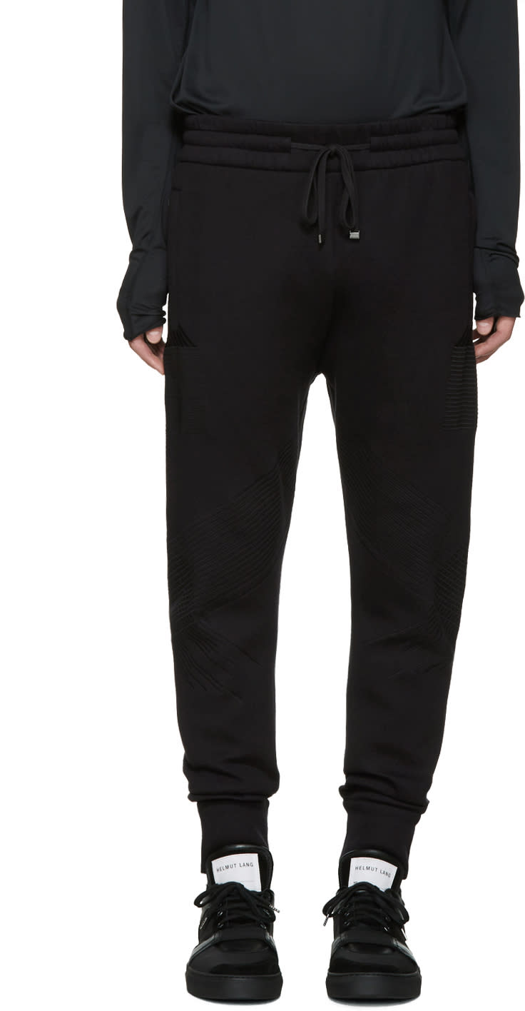 Helmut Lang Black Bonded Jersey Lounge Pants