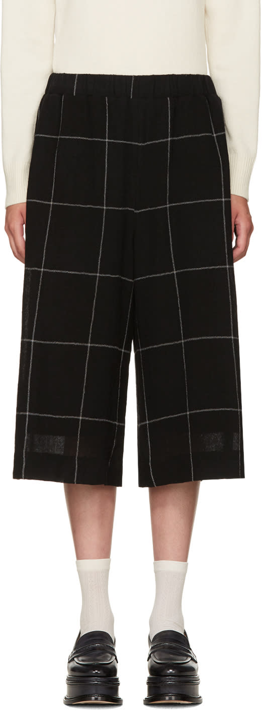 Ymc Black Wool Check Culottes
