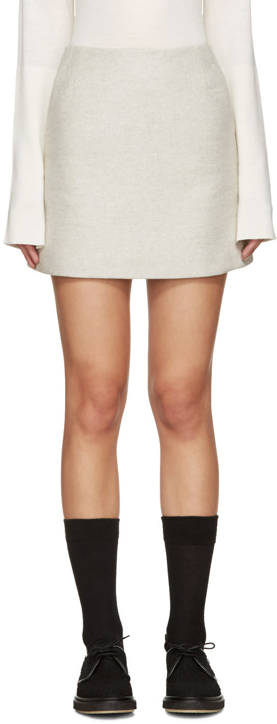 Ymc Grey Wool Neoprene Miniskirt