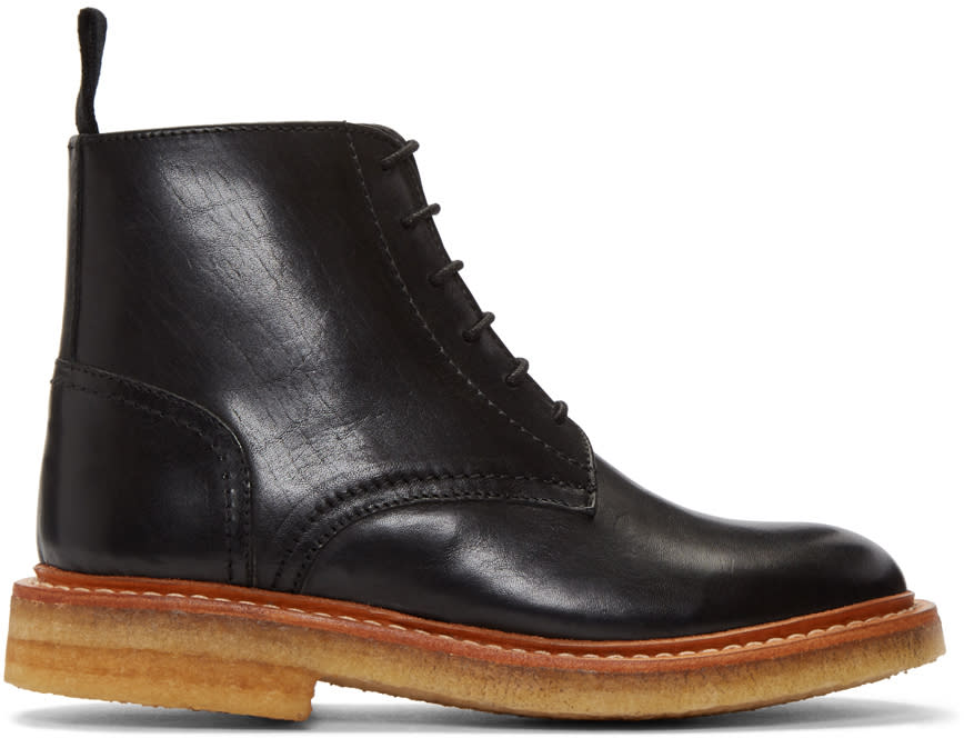 Image of Ymc Black Crepe Sole Boots