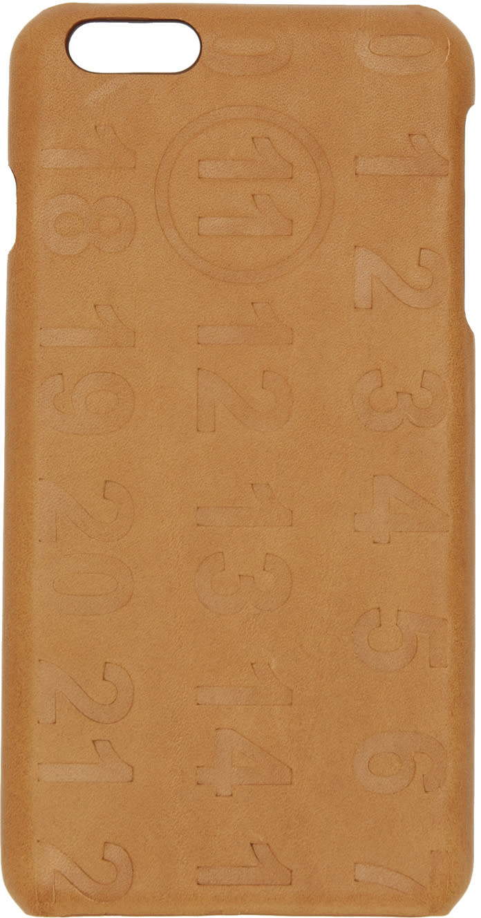 Maison Margiela Tan Leather Logo Iphone 6 Plus Case