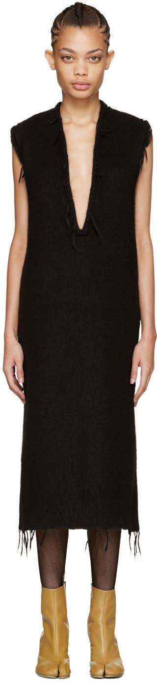 Maison Margiela Black Alpaca V-neck Dress