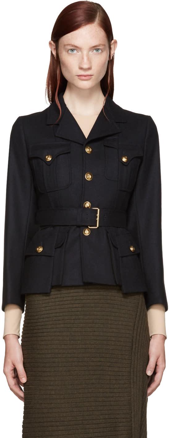 Maison Margiela Navy Gabardine Military Jacket